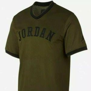 NWT Nike Air Jordan Mesh Jumpman Jersey Shirt Oliv